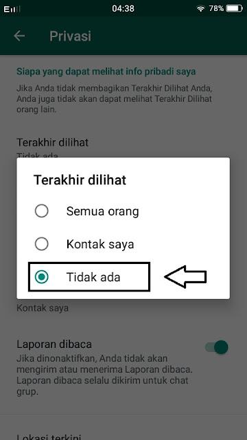 cara mematikan kode online di whatsapp padahal sedang online