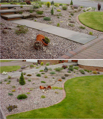 pea gravel and river pebbles added to both scree borders