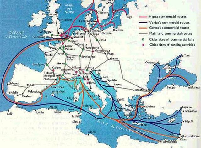 Map of trade routes in Middle Ages Byzantium.filminspector.com