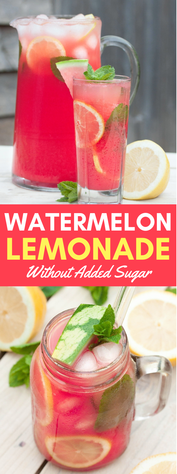 WATERMELON LEMONADE WITHOUT ADDED SUGAR #drinks #juices