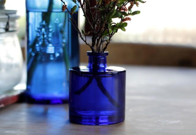 Upcycled Blue Vases