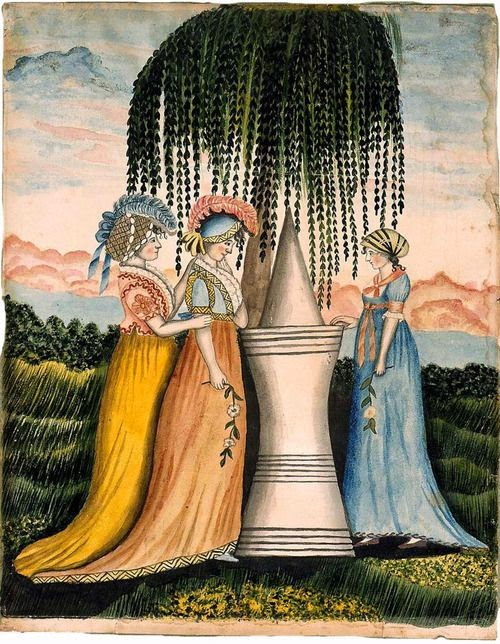 Three Ladies Standing by a Funerary Monument (1800-1810), Eunice Pinney