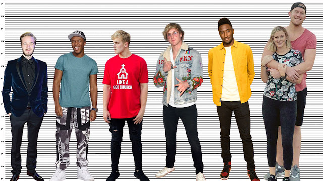 """Logan Paul with PewDiePie (5'9""""), KSI (5'10""""), Jake Paul (5'10.5""""), MKBHD (6'3""""), and the giant Beau Brown (7'1"""")"""