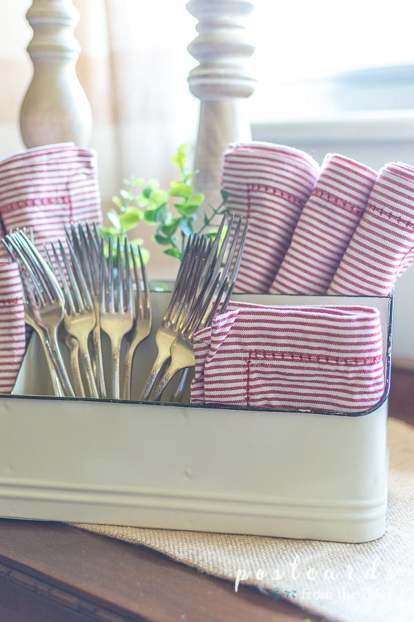 red striped napkins and vintage silver forks
