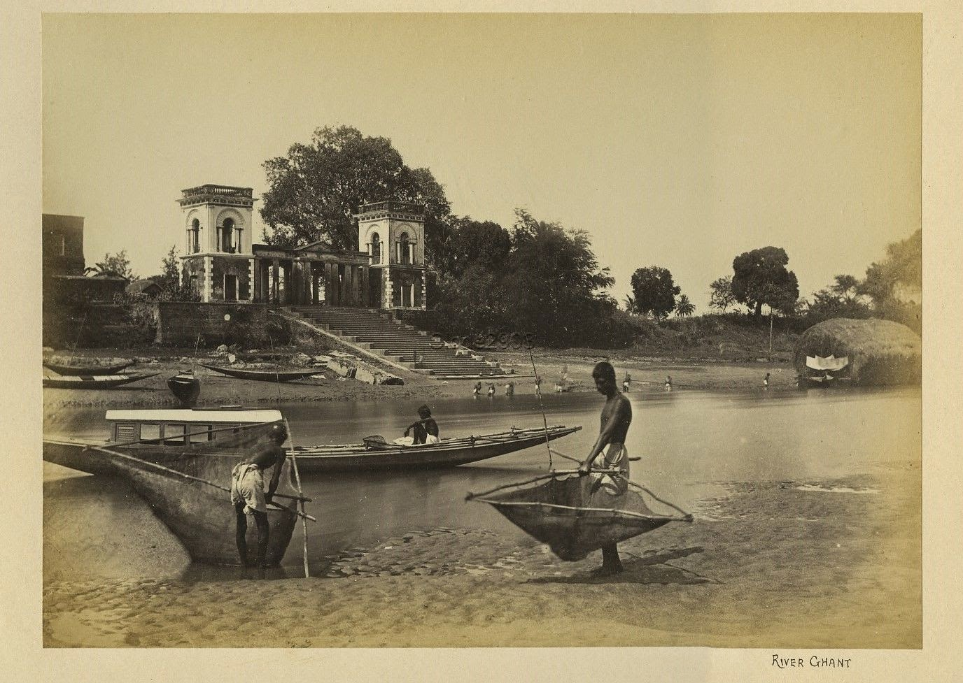 Fishermen Working in a River - India c1880's