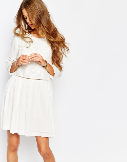 suncoo white embroidered dress, white embroidered waist dress,