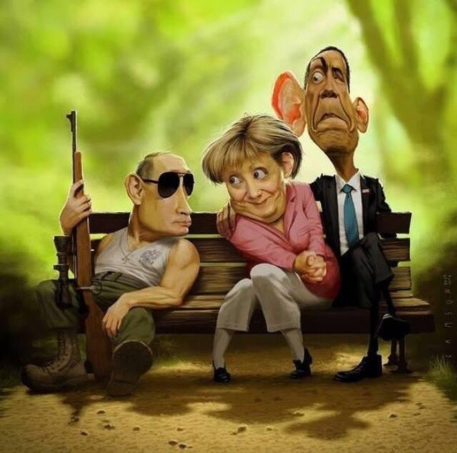Putin Merkel Obama - caricatura