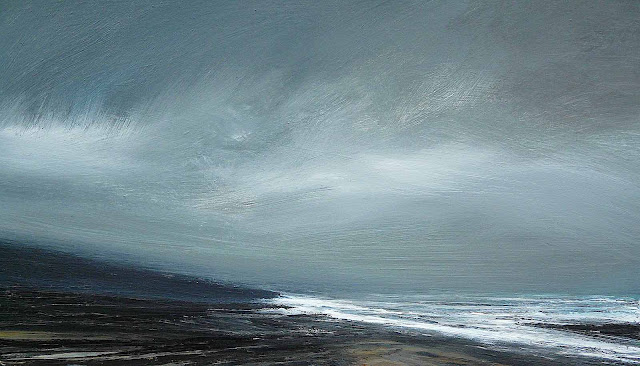 a Ruth Brownlee painting of a stormy shoreline