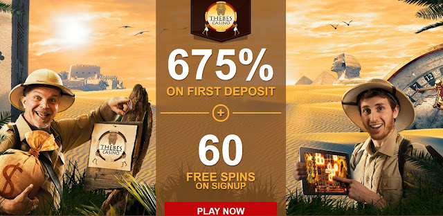 60 free spins and 675% welcome bonus pack at Thebes casino