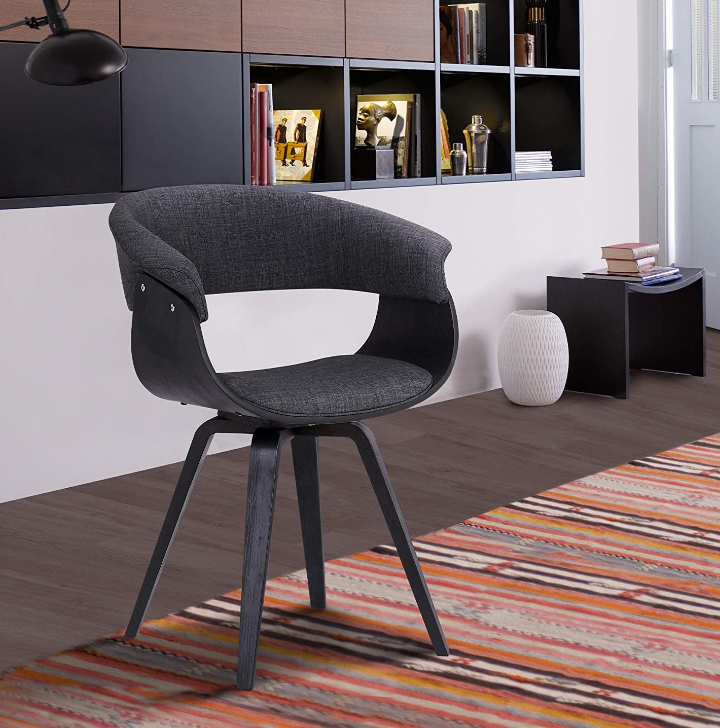 Best ideas Black Minimalist livingroom contemporary Chair with charcoal fabric and Walnut wood finish
