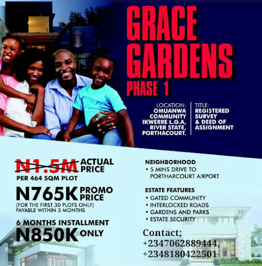 GRACE GARDENS PHASE 1, IKWERRE LGA, PORTHARCOURT, RIVERS ( LAND FOR SALE)