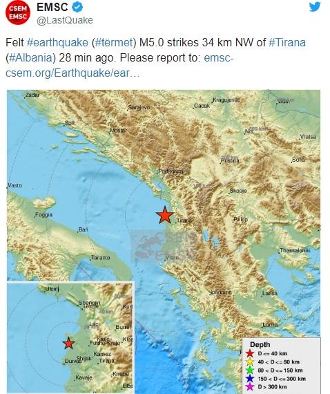 Albania hit again by earthquake of magnitude 5