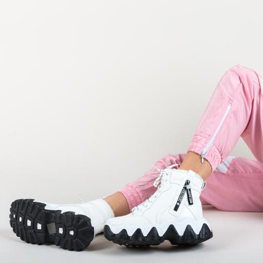 Pantofi spor femei de toamna inalti albi cu talpa groasa