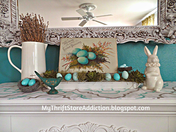 Whimsical chicken feeder mantel