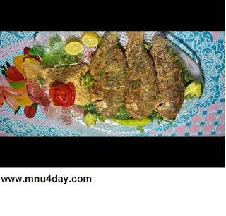 طريقة عمل السمك المقلي ورز الصيادية والباذنجان المقلي