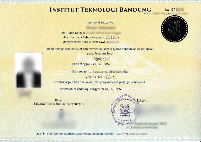 Contoh Ijazah S1 Teknik Sipil Institut Teknologi Bandung ITB