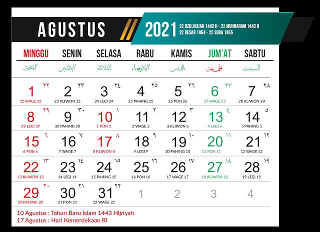 Preview Desain Template Kalender 2021 Bulan Agustus