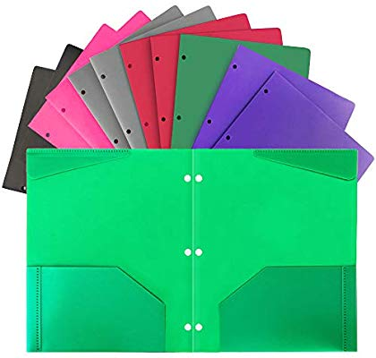 50%off Plastic Folders with Pocket and 3 Hole 12PCS Heavy Duty 2 Pocket Plastic Folders Letter Size for School Work and Home Assorted Colors