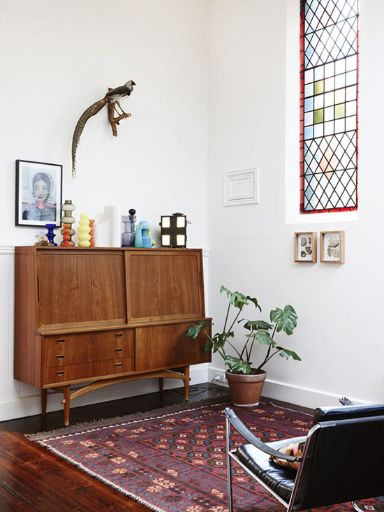 Teak sideboard from Grandfather's Axe in Tessa Blazey and Steven Blick's home in Melbourne via The Design Files.