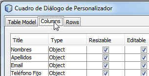 "Clic en la pestaña ""Columns"""