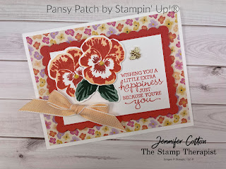 Stampin' Up!®s brand new (sneak peek) Pansy Patch Bundle, Bumblebee Trinkets, and Pansy Petals Designer Series Paper!  I made this card on my weekly Facebook Live.  Measurements, supply list, and link to video on the blog. #StampinUp #StampTherapist #PansyPatch