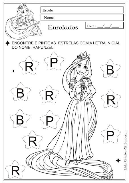 Atividade letra inicial com a personagem Rapunzel do filme Enrolados