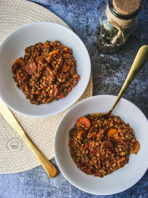 Lentilles vertes au chorizo - tomates - Cookeo - Recette facile - IG bas