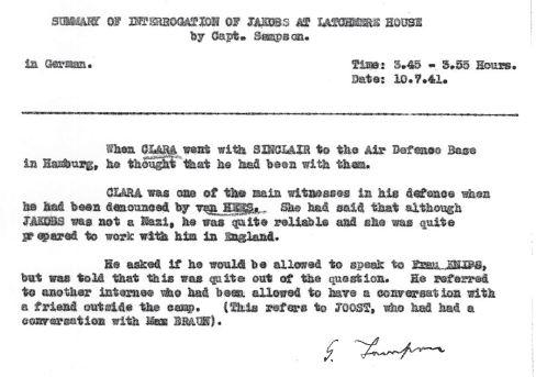 July 10, 1941 - KV 2/26 - 101a - MI5 interrogation report of Josef Jakobs by Lt. Sampson re: Clara.