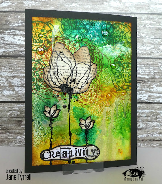 mixed media canvas | inky | flower stamp