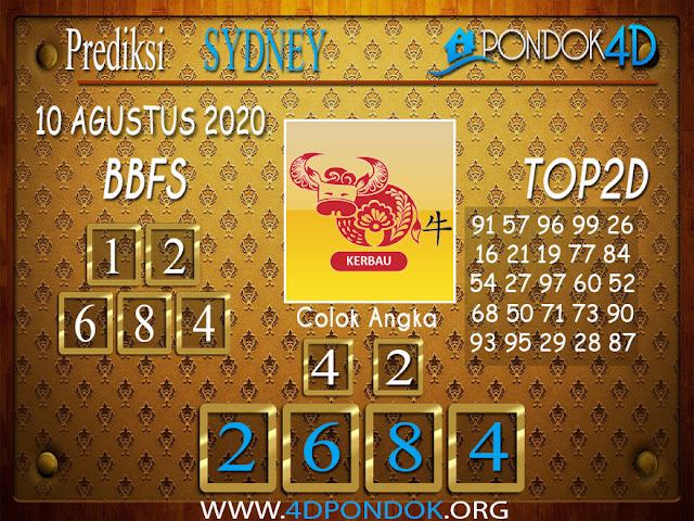Prediksi Togel SYDNEY PONDOK4D 10 AGUSTUS 2020