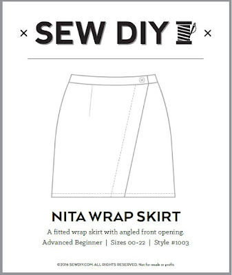 Nita wrap skirt sew diy sewing pattern made by minn's things technical drawing