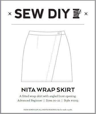 Nita wrap skirt sew diy sewing pattern made by minn's things technical drawing