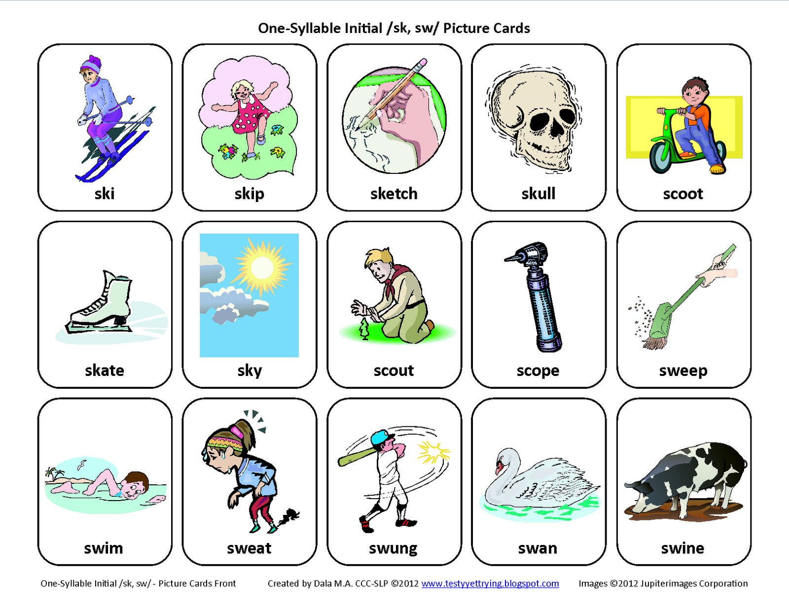 Testy Yet Trying S Blends Sk Sw Free Speech Therapy Articulation Picture Cards