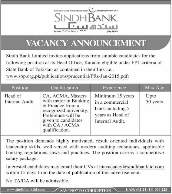 Sindh Bank Ltd Jobs 2019 Karachi