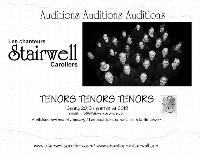 Jan 30 2019 Stairwell Carollers auditions for tenors