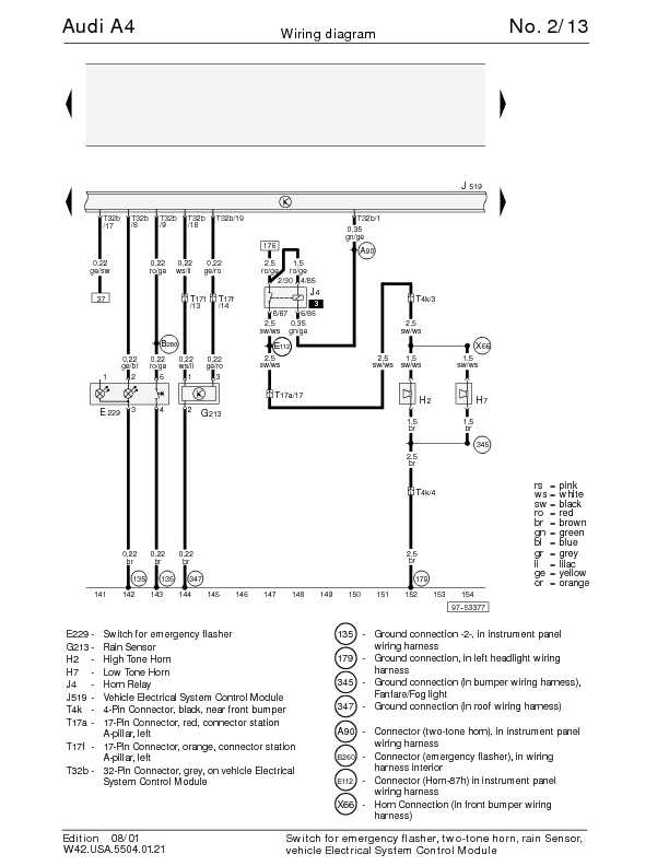 Audi A4 B5 Wiring Diagram | Owner guide manual