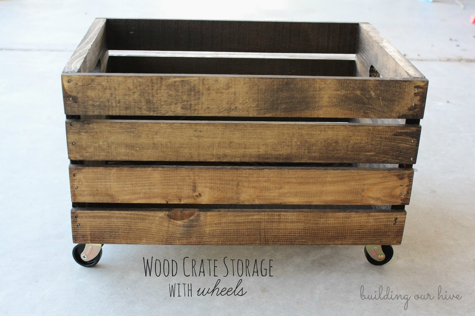 Wood Crate Storage With Wheels