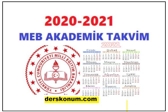 2021 2022 AKADEMİK TAKVİM, MEB ÇALIŞMA TAKVİMİ