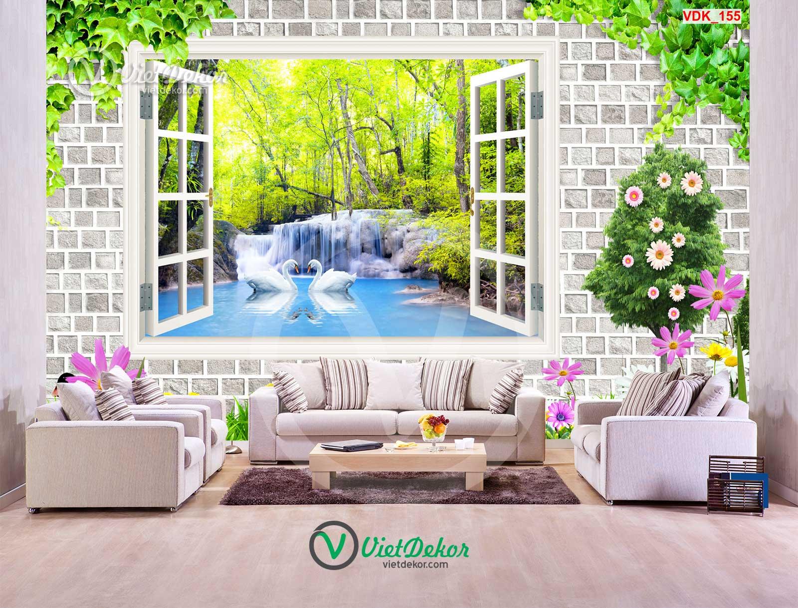 Tranh dán tường 3d cửa sổ thác nước thiên nga