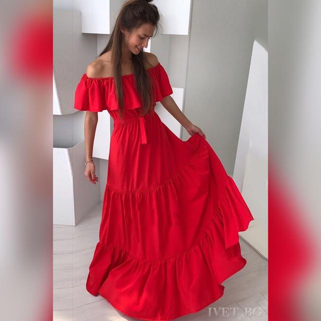 Εντυπωσιακό μάξι κόκκινο φόρεμα MAURENA RED