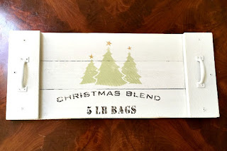 Christmas tree stenciled tray