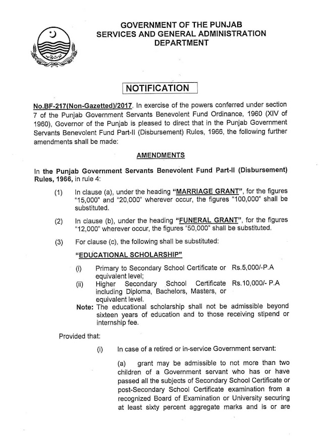 AMENDMENTS IN BENEVOLENT FUND GRANTS FOR NON-GAZETTED GOVERNMENT EMPLOYEES