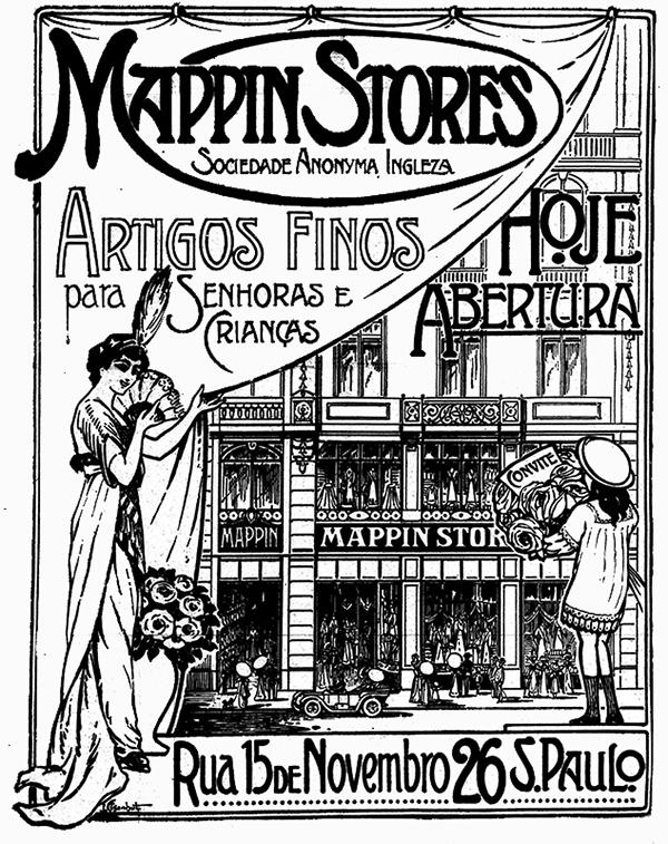 Propaganda antiga de 1913 onde apresentam o lançamento da loja de departamentos Mappin
