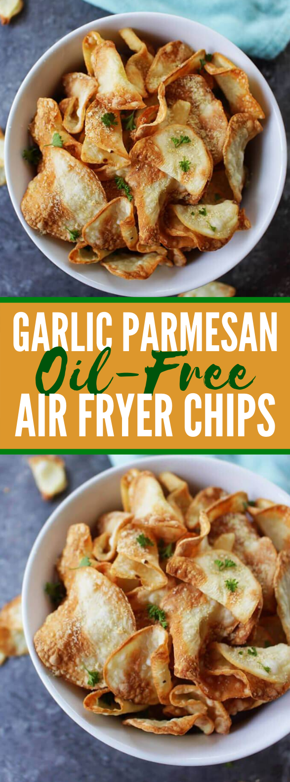 GARLIC PARMESAN OIL-FREE AIR FRYER CHIPS #healthy #vegan