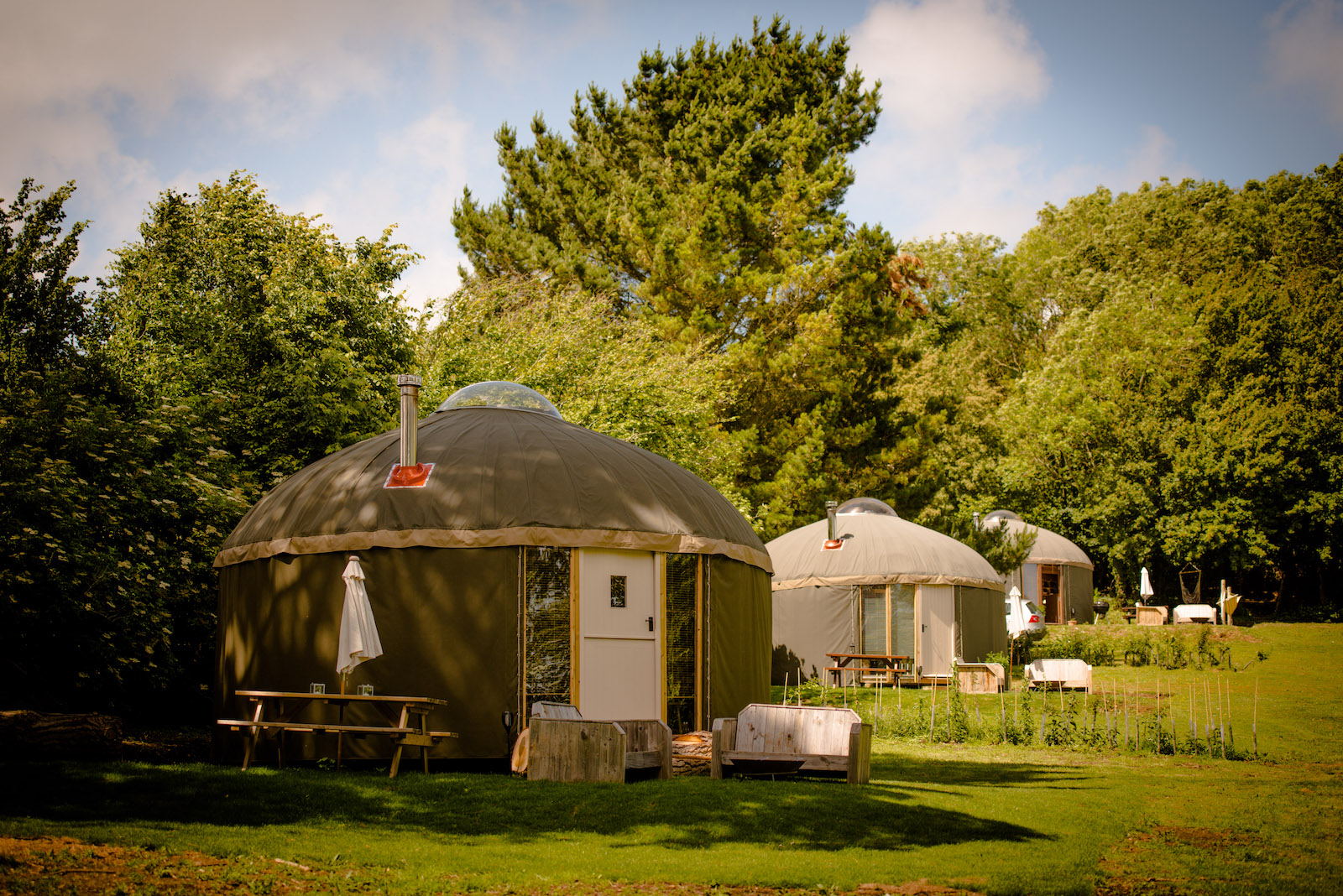 Yurts at The Garlic Farm