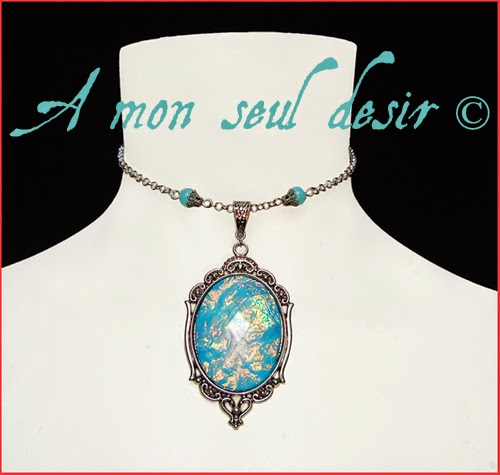 Collier elfique féerique magie bleue fée elfe magical elven fairy aqua blue magic necklace StarLight