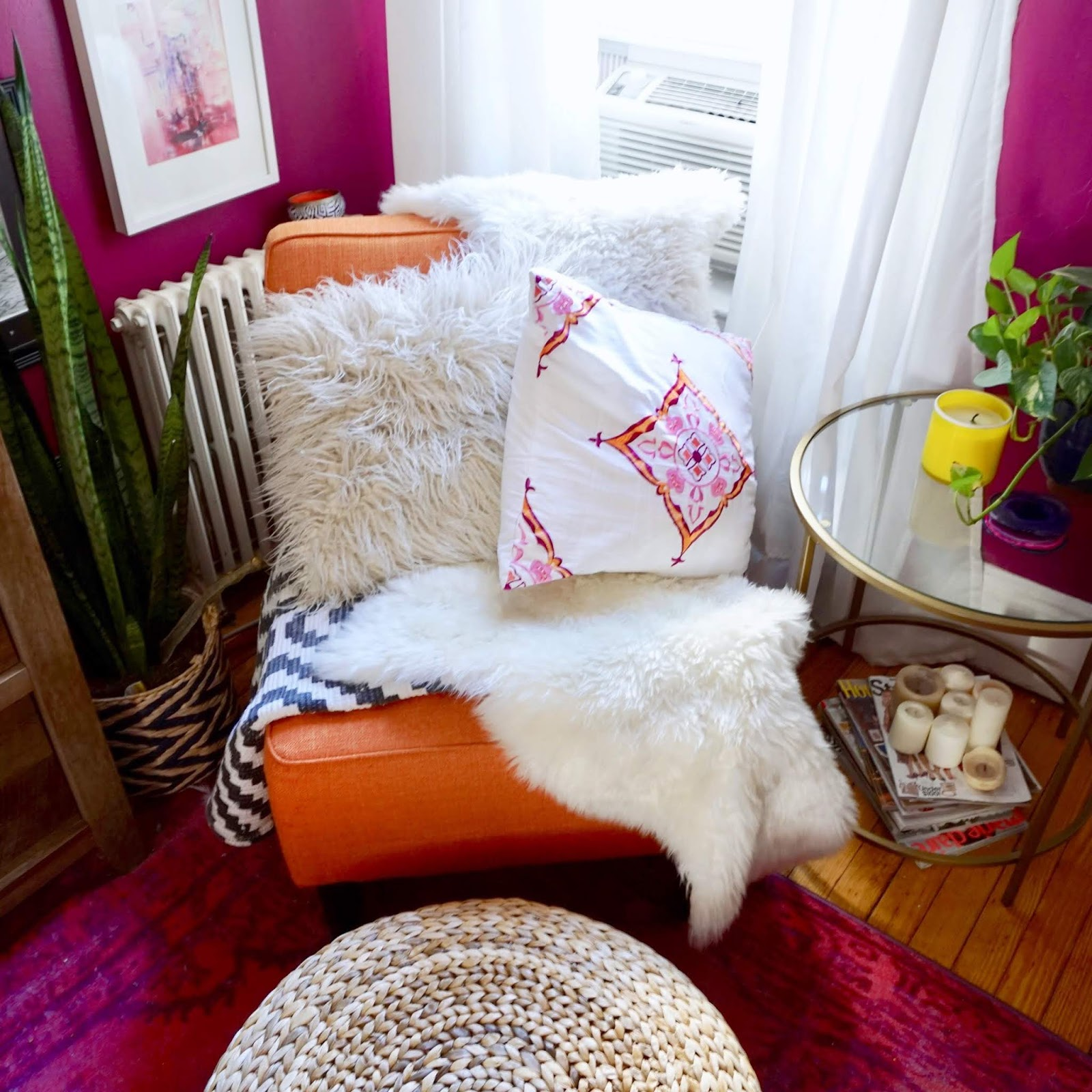 colorful decor, colorful living room decor, boho apartments, small apartment decor, small bohemian apartment, spall space decor, bright decor, pink walls, rattan furniture decor, bright colored walls, watercolor backsplash, purple backsplash, kids bedroom decor, shared nursery decor, two tone walls, wall baskets, boho decor ideas for small places, Ikea hacks, small space storage hacks, New York apartment, colorful New York apartments, colorful decor Inspiration, bohemian decor ideas