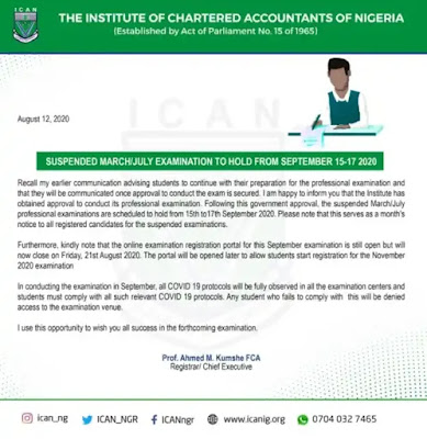 Suspended ICAN March/July Examination Diet to Hold From September 15-17, 2020