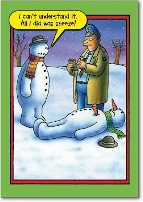 Funny snowman cartoon picture - I can't understand it officer.  All I did was sneeze. Carrot killed snowman