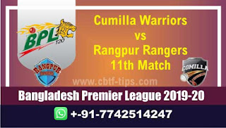 Who will win Today BPL T20, 11th Match Rangpur vs Comila - Cricfrog